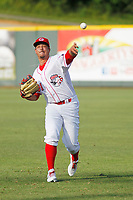 Greeneville Reds pitcher Jacob Heatherly (31) throwing in the outfield before a game against the Bristol Pirates at Pioneer Field on June 19, 2018 in Greeneville, Tennessee. Bristol defeated Greeneville 10-2. (Robert Gurganus/Four Seam Images)