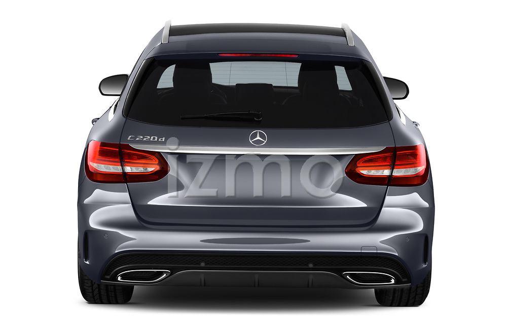Straight rear view of a 2018 Mercedes Benz C Class AMG Line 5 Door Wagon stock images