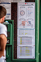 20 May 2018: The Washington Nationals Lineup Card is posted in the dugout during a game against the Los Angeles Dodgers at Nationals Park in Washington, DC. The Dodgers defeated the Nationals 7-2, sweeping their 3-game series. Mandatory Credit: Ed Wolfstein Photo *** RAW (NEF) Image File Available ***