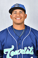 Asheville Tourists catcher Javier Guevara (9) during media day at McCormick Field on April 2, 2019 in Asheville, North Carolina. (Tony Farlow/Four Seam Images)