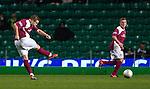 Arbroath's Steven Doris scores from a free-kick