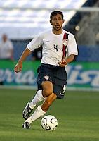 Pablo Mastroeni dribbles the ball. USA (0) vs Morocco (1), May 23, 2006, at The Coliseum in Nashville, Tenn.