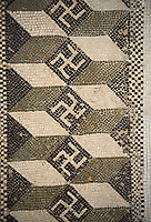 Pictures of the geometric border  Roman mosaic using 3d blocks and a swastica design from a Four Seasons mosaic, from the Maison de la Procession Dionysiaque, ancient Roman city of Thysdrus. 2nd century AD. El Djem Archaeological Museum, El Djem, Tunisia.