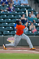 Dexture McCall (27) of the Buies Creek Astros follows through on his swing against the Winston-Salem Dash at BB&T Ballpark on April 13, 2017 in Winston-Salem, North Carolina.  The Dash defeated the Astros 7-1.  (Brian Westerholt/Four Seam Images)