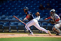 Mississippi Braves Alejandro Salazar (48) at bat during a Southern League game against the Jacksonville Jumbo Shrimp on May 5, 2019 at Trustmark Park in Pearl, Mississippi.  Mississippi defeated Jacksonville 1-0 in ten innings.  (Mike Janes/Four Seam Images)