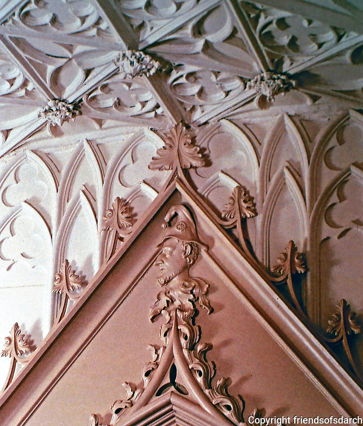 Strawberry Hill--decorator screen in Holbein Chamber. Home of Horace Walpole. Gothic, picturesque style.
