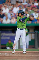 Kane County Cougars Alek Thomas (2) at bat during a Midwest League game against the Dayton Dragons on July 20, 2019 at Northwestern Medicine Field in Geneva, Illinois.  Dayton defeated Kane County 1-0.  (Mike Janes/Four Seam Images)