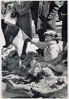 1989 FILE PHOTO - ARCHIVES -<br /> <br />  It may be snow; but it was a grand-stand seat for six-year old Jennifer Woods; wearing shamrock cap; as she watched the St. Patrick's Day parade, in Toronto.