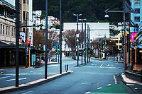 Courtenay Place at 7.30am during Level 4 lockdown for the COVID-19 pandemic in Wellington, New Zealand on Tuesday, 24 August 2021.