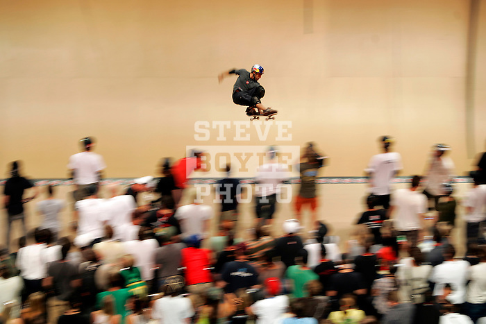 Sandro Dias competes in the Men's Skateboarding Vert finals at the Staples Center during X-Games 12 in Los Angeles, California on August 3, 2006.