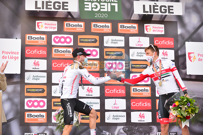 Marc Hirschi (SUI) Team Sunweb promoted to 2nd place with Tadej Pogacar (SLO) UAE Team Emirates in 3rd at the end of Liege-Bastogne-Liege 2020, running 257km from Liege to Liege, Belgium. 4th October 2020.<br /> Picture: ASO/Gautier Demouveaux | Cyclefile<br /> All photos usage must carry mandatory copyright credit (© Cyclefile | ASO/Gautier Demouveaux)