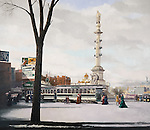 """Victorian era trolley and pedestrains at Columbus Circle, street car public transportation in New York City at the turn of the century, circa 1908. Oil on canvas, 32"""" x 37""""."""