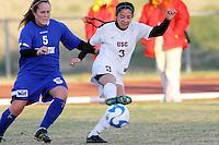 Alyssa Davila of USC and  Nicole DeLue of Creighton. USC defeated Creighton 3-0 in an NCAA tournament women's soccer first round match at  Walton Stadium in Columbia, Missouri on November 16, 2007.