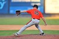Aberdeen IronBirds pitcher Garrett Farmer (15) delivers a pitch during a game against the Asheville Tourists on June 16, 2021 at McCormick Field in Asheville, NC. (Tony Farlow/Four Seam Images)