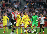 Vitaly Janelt scores Brentford's second goal with a fine header during Brentford vs Liverpool, Premier League Football at the Brentford Community Stadium on 25th September 2021