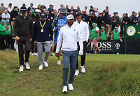 13th July 2021; The Royal St. George's Golf Club, Sandwich, Kent, England; The 149th Open Golf Championship, practice day; Dustin Johnson (USA) walks from the 3rd tee