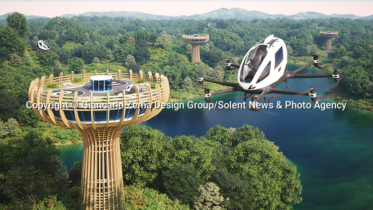 WITH VIDEO<br /> <br /> Air taxis are set to transport tourists to incredible 30 metre high landing towers in the middle of the wilderness, according to plans released by a leading design company. The structures will be powered by green energy and holiday makers will be flown to them in 'autonomous aerial vehicles'.<br /> <br /> Tourists can then dine out in the spectacular restaurant at the top of the building, due to be built at a location in Italy, before taking a scenic flight back to their hotel.  EHang Holdings, the company behind the unmanned aircrafts, has partnered up with Italian architects Giancarlo Zema Design Group to create the stunning eco-friendly 'vertiports'.  SEE OUR COPY FOR DETAILS.<br /> <br /> Please byline: Giancarlo Zema Design Group/Solent News<br /> <br /> © Giancarlo Zema Design Group/Solent News & Photo Agency<br /> UK +44 (0) 2380 458800