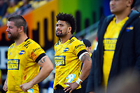 Ardie Savea watches from the bench during the Super Rugby Aotearoa match between the Hurricanes and Crusaders at Sky Stadium in Wellington, New Zealand on Sunday, 11 April 2020. Photo: Dave Lintott / lintottphoto.co.nz