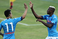 Victor Osimhen of SSC Napoli celebrates with Hirving Lozano after scoring a goal during the friendly football match between SSC Napoli and L Aquila 1927 at stadio Patini in Castel di Sangro, Italy, August 28, 2020. <br /> Photo Cesare Purini / Insidefoto