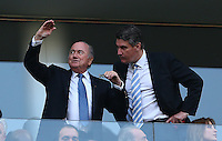 FIFA president Sepp Blatter gestures in the crowd