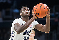 WASHINGTON, DC - JANUARY 28: Qudus Wahab #34 of Georgetown at the free throw line during a game between Butler and Georgetown at Capital One Arena on January 28, 2020 in Washington, DC.