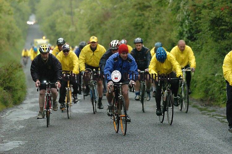 Cyclists negotiate Clonlara Hill during the Clare 250 mile cycle. Photograph by John Kelly.
