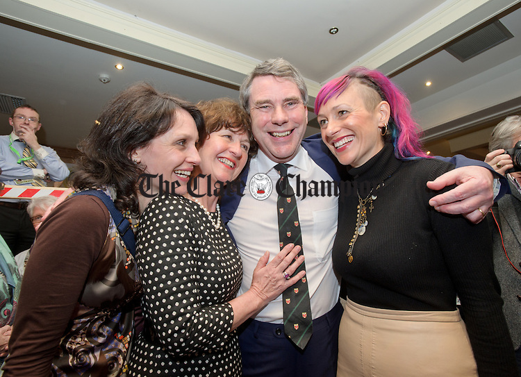 Dr Michael Harty, Independent, with his wife Gerry and daughters Claire and Jillian at theGE2016 count in Ennistymon. Photograph by John Kelly.