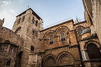 The main entrance to the Church of the Holy Sepulchre. Muslims were entrusted as custodian to the keys and this arrangement has persisted into modern times. Jerusalem