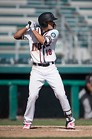 Modesto Nuts first baseman Evan White (18) at bat during a California League game against the Lake Elsinore Storm at John Thurman Field on May 13, 2018 in Modesto, California. Lake Elsinore defeated Modesto 4-3. (Zachary Lucy/Four Seam Images)