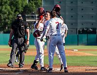 STANFORD, CA - JUNE 5: Kody Huff, Tim Tawa, Brock Jones during a game between UC Irvine and Stanford Baseball at Sunken Diamond on June 5, 2021 in Stanford, California.