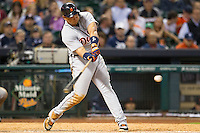 Detroit Tigers third baseman Miguel Cabrera (24) swings the bat during the MLB baseball game against the Houston Astros on May 3, 2013 at Minute Maid Park in Houston, Texas. Detroit defeated Houston 4-3. (Andrew Woolley/Four Seam Images).