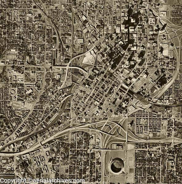 historical aerial photo map of Atlanta, Georgia, 1968