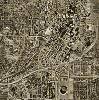 historical aerial photo map of Atlanta, Georgia, 1968