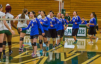 1 November 2015: Yeshiva University Maccabee Outside Hitter, Setter, and team co-Captain Shana Wolfstein, a Senior from Burlington, VT, greets her opponents as she leads the line prior to a match against the SUNY College at Old Westbury Panthers at SUNY Old Westbury in Old Westbury, NY. The Panthers edged out the Maccabees 3-2 in NCAA women's volleyball, Skyline Conference play. Mandatory Credit: Ed Wolfstein Photo *** RAW (NEF) Image File Available ***