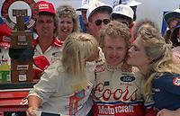 Bill Elliott daughter Starr Elliott victory lane  Pepsi Firecracker 400 at Daytona International Speedway in Daytona Beach, FL in July 1988. (Photo by Brian Cleary/www.bcpix.com)