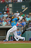 Myrtle Beach Pelicans infielder Andruw Monasterio (16) at bat during a game against the Winston Salem Dash at Ticketreturn.com Field at Pelicans Ballpark on July 22, 2018 in Myrtle Beach, South Carolina. Winston-Salem defeated Myrtle Beach 7-2. (Robert Gurganus/Four Seam Images)