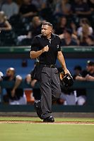 Home plate umpire Jonathan Parra during the game between the Norfolk Tides and the Charlotte Knights at Truist Field on August 19, 2021 in Charlotte, North Carolina. (Brian Westerholt/Four Seam Images)
