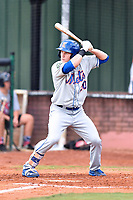 Kingsport Mets center fielder Jarred Kelenic (20) awaits a pitch during a game against the Elizabethton Twins at Joe O'Brien Field on August 7, 2018 in Elizabethton, Tennessee. The Twins defeated the Mets 16-10. (Tony Farlow/Four Seam Images)