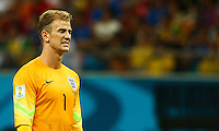 Joe Hart of England shows a look of dejection