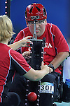 Paul Gauthier of Vancouver is assisted by his wife, Sarah Douglas as he plays Maria Stavropoulou in boccia action at the Paralympic Games in Beijing, Sunday, Sept., 7, 2008. Photo by Mike Ridewood/CPC