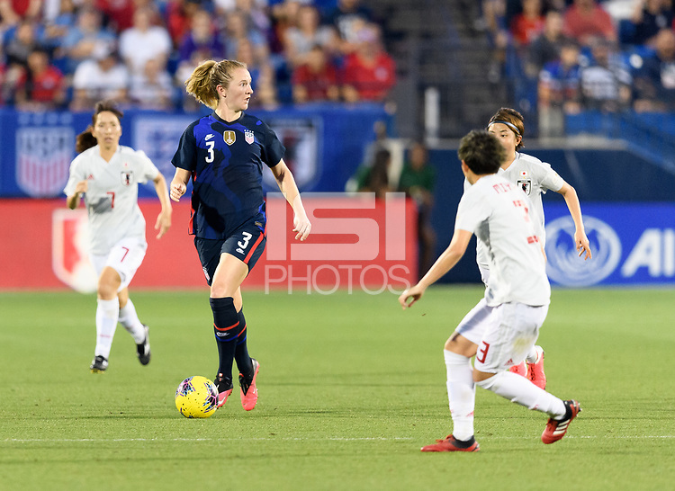 FRISCO, TX - MARCH 11: Samantha Mewis #3 of the United States looks to pass the ball in the first half during a game between Japan and USWNT at Toyota Stadium on March 11, 2020 in Frisco, Texas.