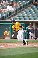 Gavin Cecchini (17) of the Salt Lake Bees at bat against the Las Vegas Aviators at Smith's Ballpark on July 25, 2021 in Salt Lake City, Utah. The Aviators defeated the Bees 10-6. (Stephen Smith/Four Seam Images)