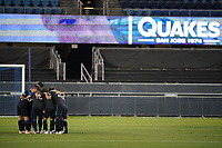 SAN JOSE, CA - OCTOBER 18: San Jose Earthquakes huddle during a game between Seattle Sounders FC and San Jose Earthquakes at Earthquakes Stadium on October 18, 2020 in San Jose, California.