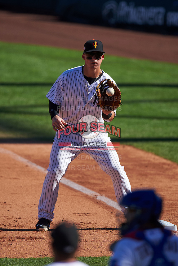 Surprise Saguaros first baseman Tyler Austin (20) catches a throw during an Arizona Fall League game against the Glendale Desert Dogs on October 23, 2015 at Salt River Fields at Talking Stick in Scottsdale, Arizona.  Glendale defeated Surprise 9-6.  (Mike Janes/Four Seam Images)