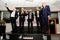 Pictured: (L-R) Alan Curtis, assistant coach for Swansea, Leon Britton and Lee Trundle of Swansea City During the Swansea City Christmas Party at the Liberty Stadium, Swansea, Wales, UK. Thursday 13th December 2018