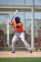 Baltimore Orioles Aderlin Rodriguez (45) bats during a minor league Spring Training game against the Minnesota Twins on March 16, 2016 at CenturyLink Sports Complex in Fort Myers, Florida.  (Mike Janes/Four Seam Images)