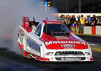 Nov 7, 2013; Pomona, CA, USA; NHRA funny car driver Bob Tasca III during qualifying for the Auto Club Finals at Auto Club Raceway at Pomona. Mandatory Credit: Mark J. Rebilas-