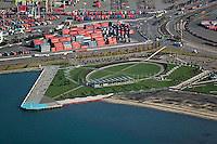 aerial photograph Oakland Middle Harbor Shoreline Park, Port of Oakland, California