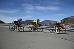 New Zealand Champion George Bennet (NZL), race leader Primoz Roglic (SLO) and Sam Oomen (NED) Team Jumbo-Visma lead the peloton during Stage 7 of Paris-Nice 2021, running 119.2km from Le Broc to Valdeblore La Colmiane, France. 13th March 2021.<br /> Picture: ASO/Fabien Boukla | Cyclefile<br /> <br /> All photos usage must carry mandatory copyright credit (© Cyclefile | ASO/Fabien Boukla)