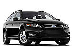 Low aggressive passenger side front three quarter view of 2011 Ford Mondeo Trend Wagon Stock Photo